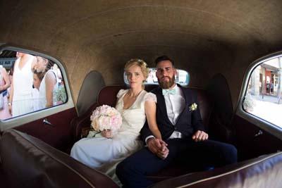 Mariage champêtre à coté Avignon Montpellier Robe en dentelle créatrice Camille RECOLIN