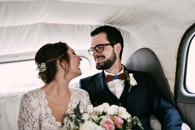 Robe de mariée décolleté en dentelles de Calais